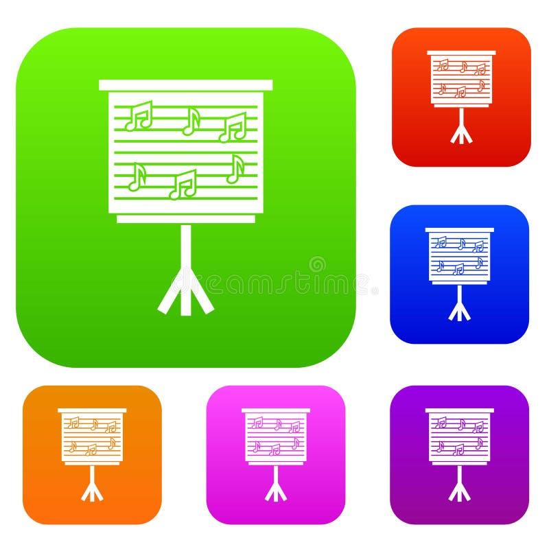 Whiteboard με τις σημειώσεις μουσικής καθορισμένες τη συλλογή χρώματος απεικόνιση αποθεμάτων
