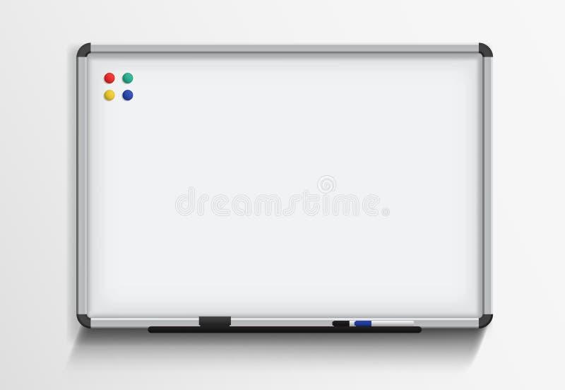 Whiteboard με το δείκτη και τους μαγνήτες Διανυσματικό ρεαλιστικό πρότυπο στο άσπρο υπόβαθρο απεικόνιση αποθεμάτων
