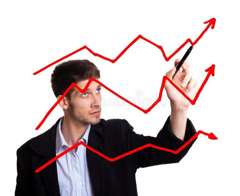 whiteboard чертежа диаграммы бизнесмена стоковые фото