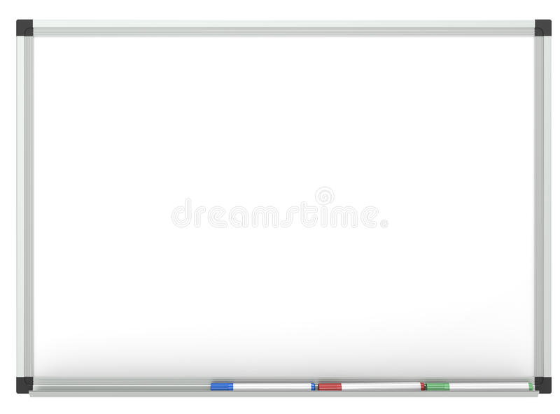 Whiteboard. Blank Whiteboard with 3x marker pen, for copy space. Isolated stock illustration