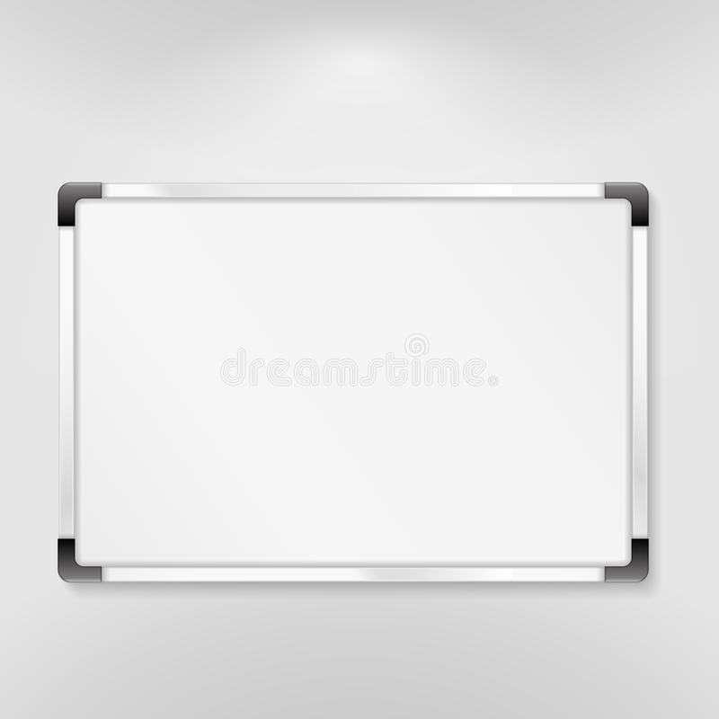 Whiteboard. Illustration of whiteboard on gray background royalty free illustration