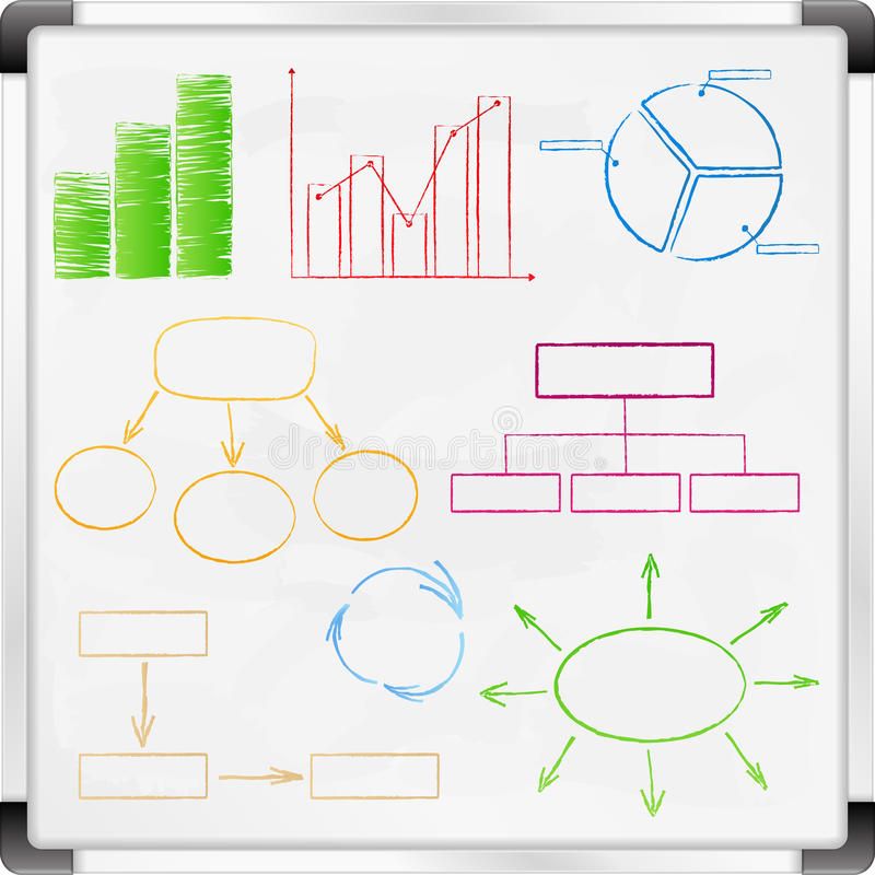 Whiteboard. With graphs and diagrams vector illustration