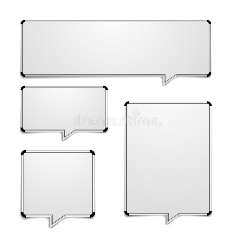 Whiteboard anförandebubblor royaltyfri illustrationer