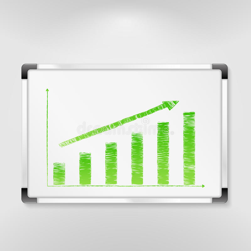 Download Whiteboard with bar graph stock vector. Image of blackboard - 24460048