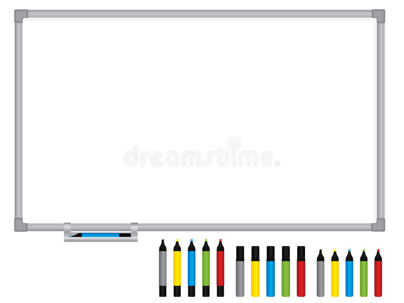 Whiteboard in bianco con le penne illustrazione vettoriale