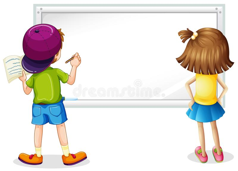 Whiteboard with boy and girl writing royalty free illustration
