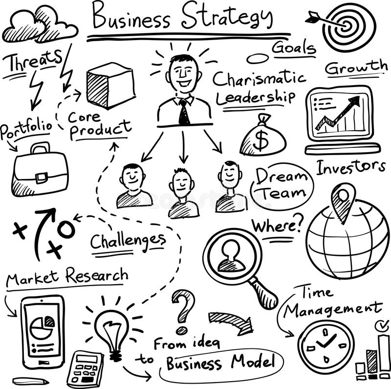 Whiteboard business strategy vector template. Black and white isolated line vector illustration for coloring page or whiteboard presentation drawing or animation stock illustration