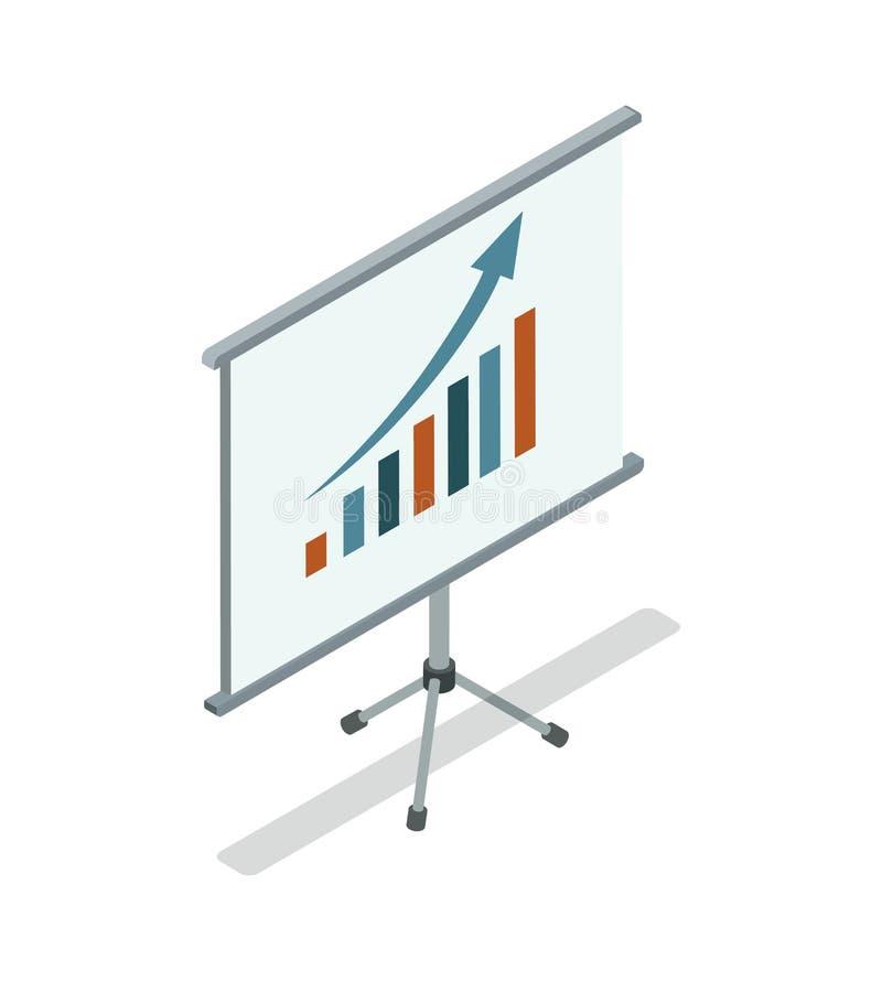 Whiteboard con el icono isométrico 3D del diagrama stock de ilustración
