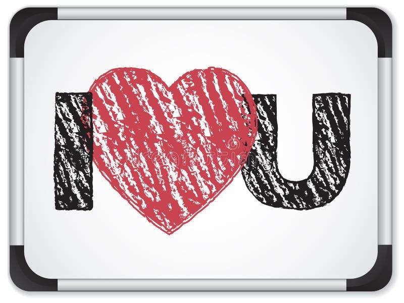 Whiteboard con il cuore di amore di I voi messaggio illustrazione di stock
