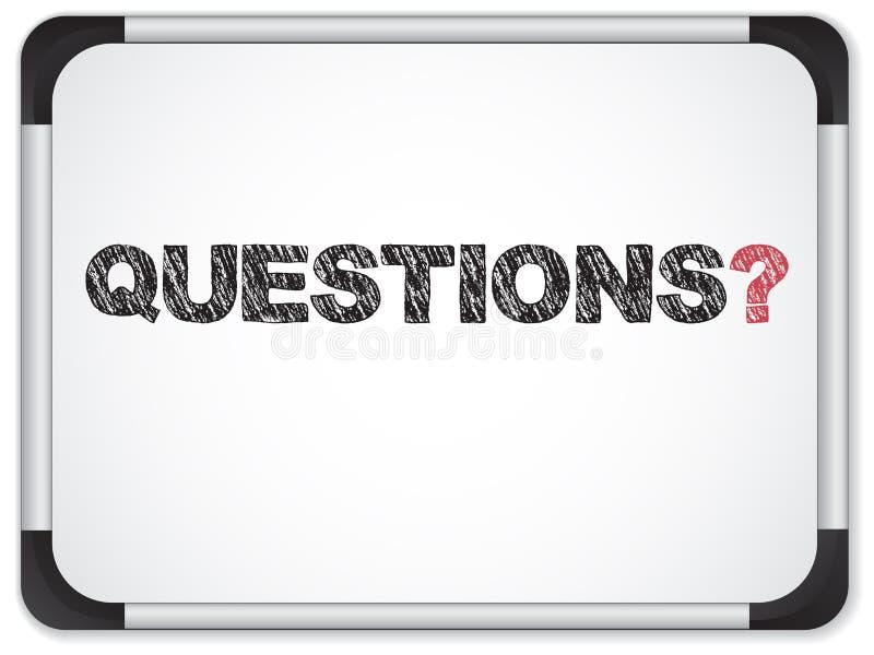 Whiteboard con il messaggio di domande illustrazione di stock