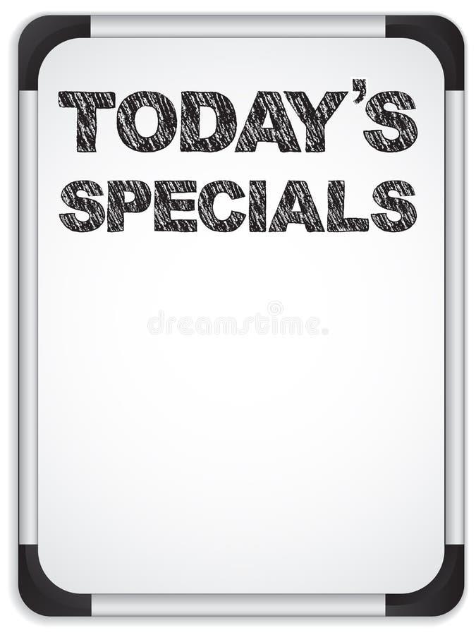 Whiteboard con l'odierno messaggio di Specials royalty illustrazione gratis