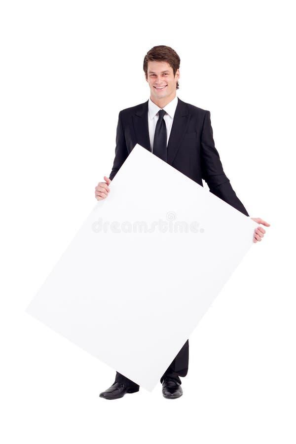 Whiteboard do homem de negócios imagem de stock