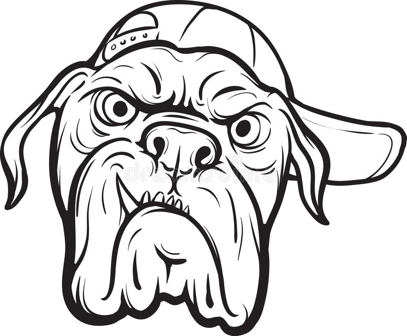 Whiteboard drawing - angry dog face. Black and white isolated line vector illustration for coloring page or whiteboard presentation drawing or animation vector illustration