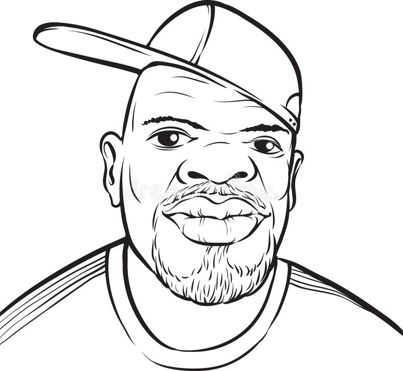 Whiteboard drawing - black man with baseball cap. Black and white isolated line vector illustration for coloring page or whiteboard presentation drawing or stock illustration