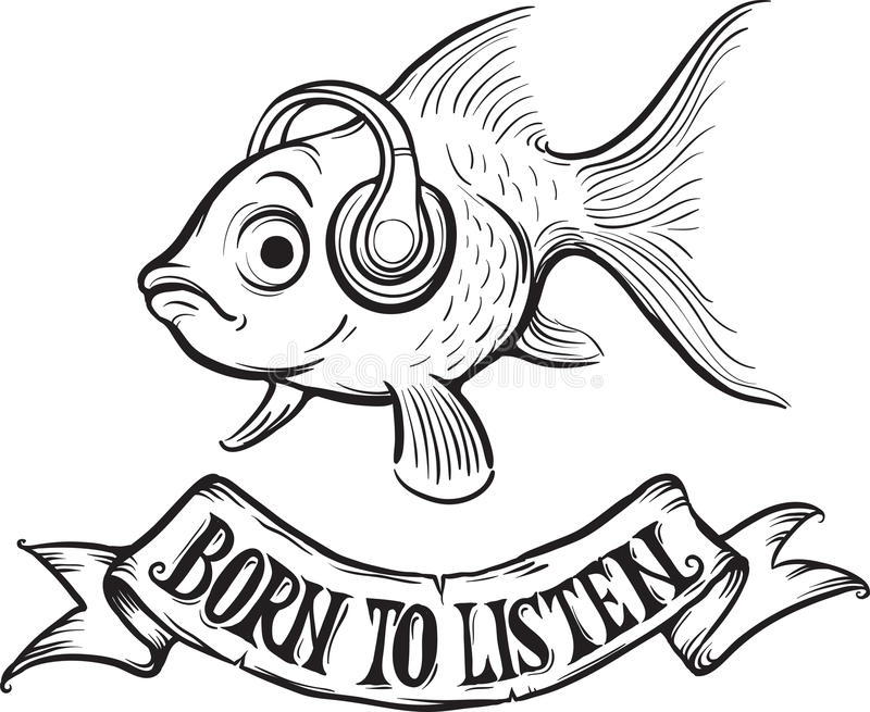 download whiteboard drawing born to listen goldfish stock vector illustration 87560435 - Goldfish Coloring Page