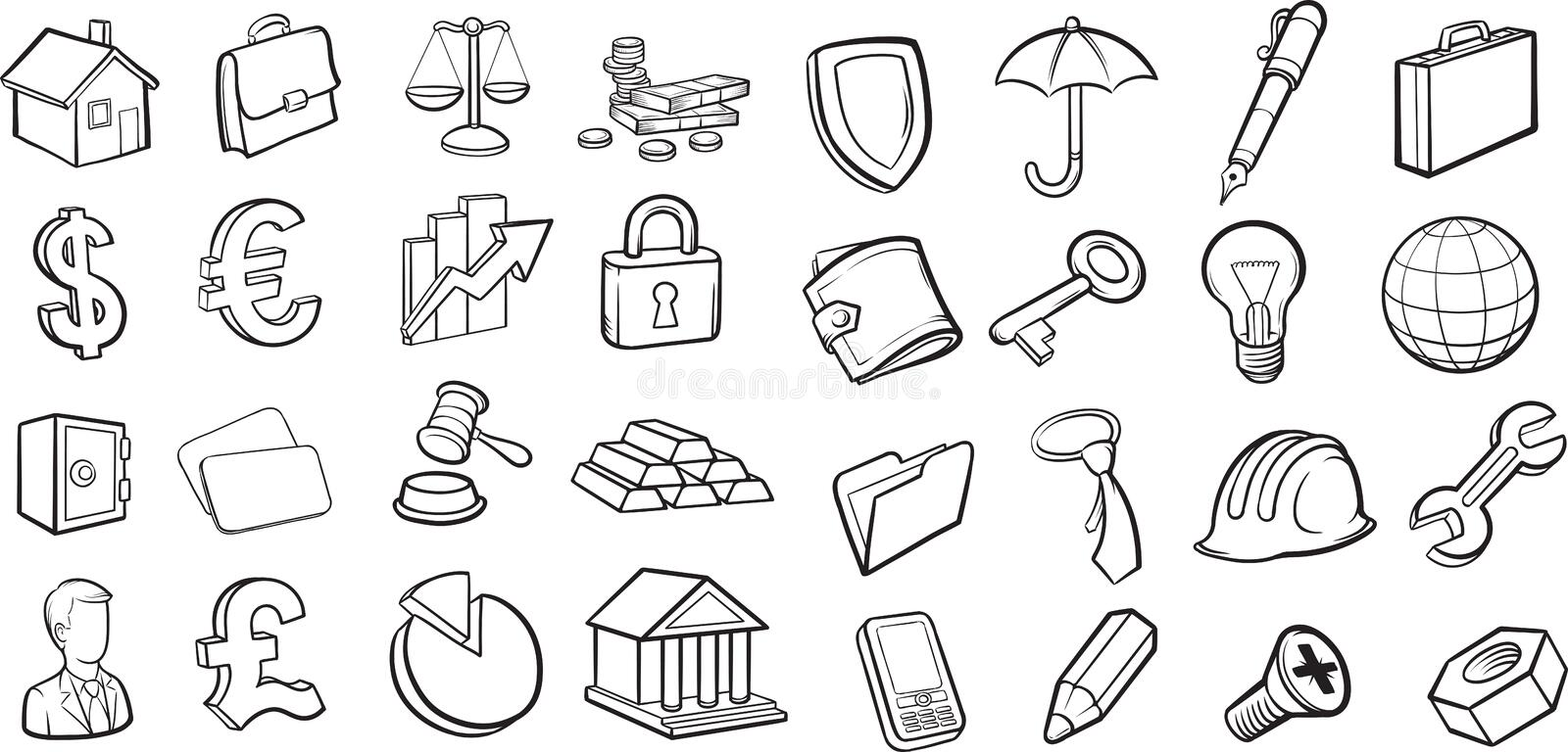 Whiteboard drawing - business and finance icons collection. Black and white isolated line vector illustration for coloring page or whiteboard presentation stock illustration