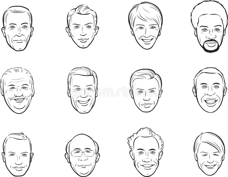 Line Drawing Smiling Face : Whiteboard drawing cartoon avatar smiling men faces