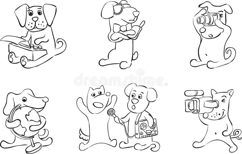 Cute Cartoon Dogs: Coloring Page Stock Vector