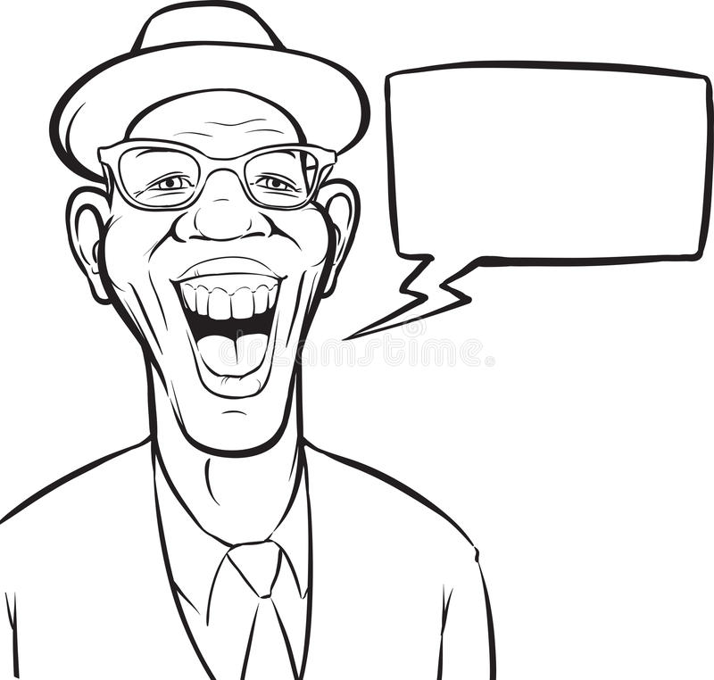 Whiteboard drawing - cartoon laughing black man in hat. Black and white isolated line vector illustration for coloring page or whiteboard presentation drawing or vector illustration