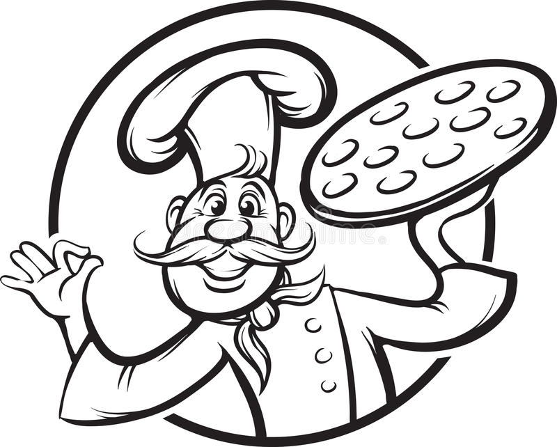 Whiteboard drawing - cartoon pizza chef mascot. Black and white isolated line vector illustration for coloring page or whiteboard presentation drawing or royalty free illustration