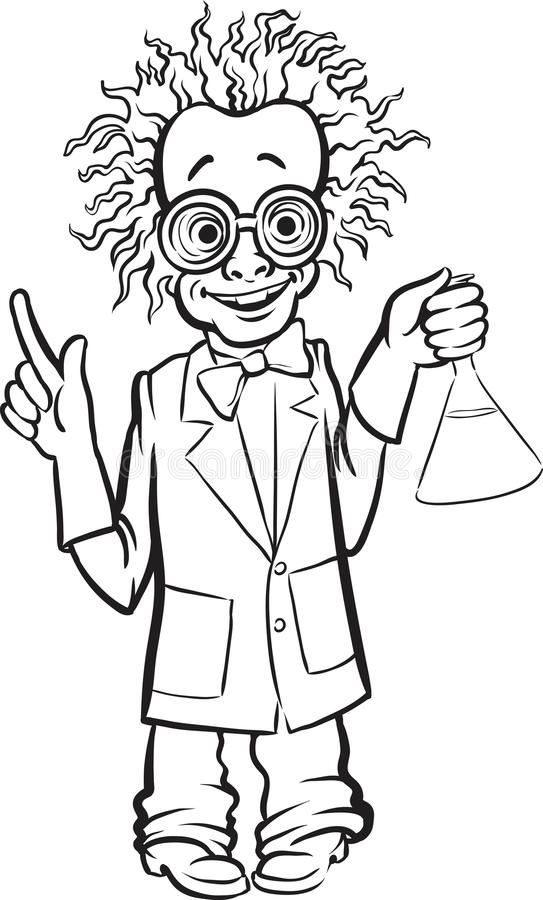 Whiteboard Drawing - Cartoon Standing Mad Scientist Stock ...