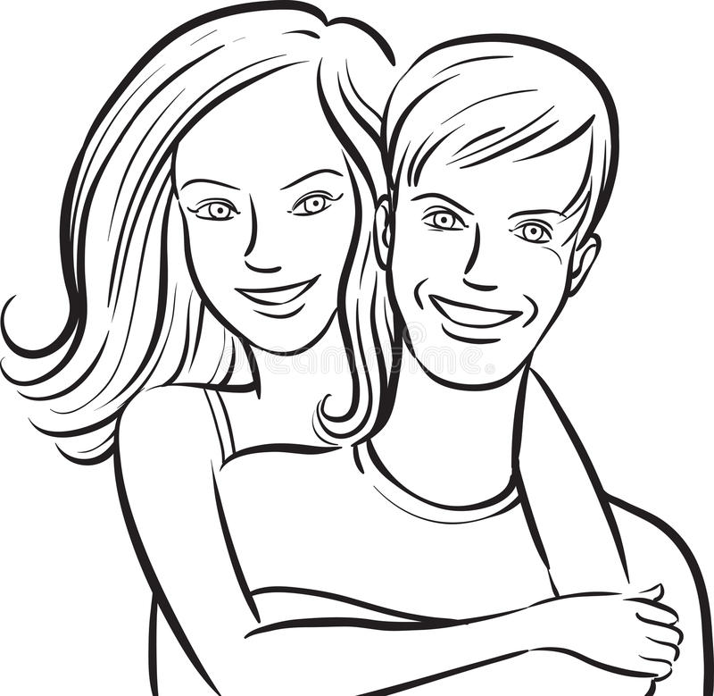 Whiteboard drawing - happy smiling couple. Black and white isolated line vector illustration for coloring page or whiteboard presentation drawing or animation royalty free illustration