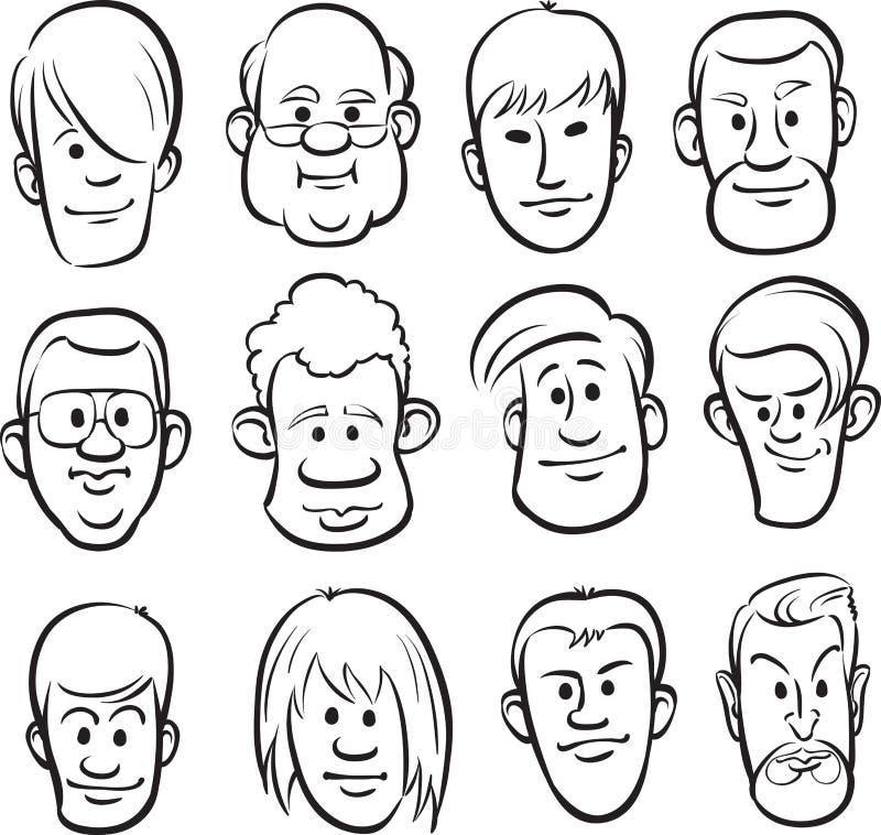 whiteboard drawing men faces cartoon heads stock vector