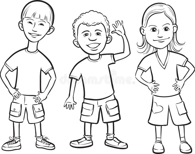 Whiteboard drawing - smiling kids standing. Black and white isolated line vector illustration for coloring page or whiteboard presentation drawing or animation royalty free illustration