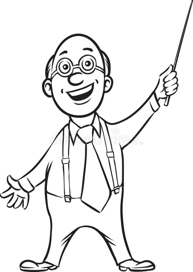 Whiteboard drawing - smiling professor with pointer. Black and white isolated line vector illustration for coloring page or whiteboard presentation drawing or stock illustration