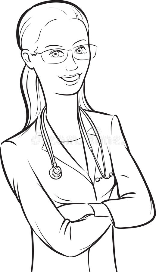 Line Drawing Of A Doctor : Whiteboard drawing smiling woman doctor in glasses with