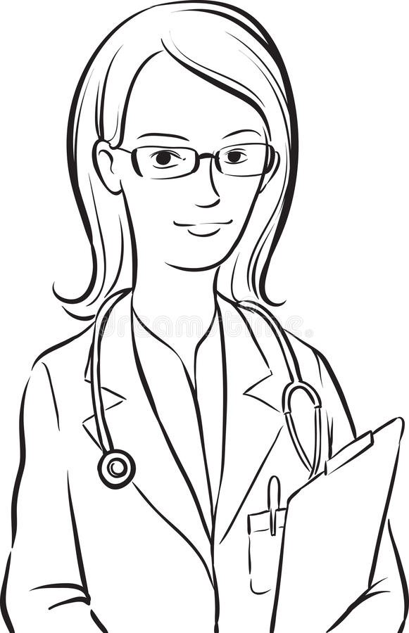 Whiteboard drawing - woman doctor. Black and white isolated line vector illustration for coloring page or whiteboard presentation drawing or animation vector illustration
