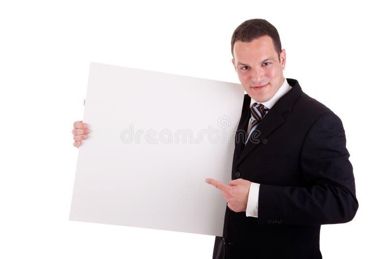 Whiteboard e ponto consideráveis da terra arrendada do homem de negócios foto de stock