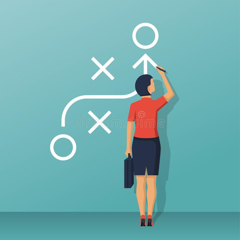 Whiteboard ereto da mulher de negócios que mostra o esquema ilustração stock