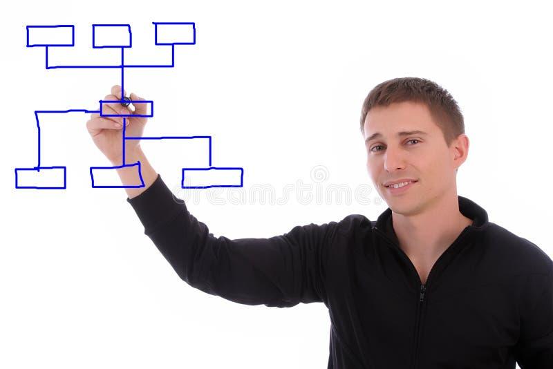 whiteboard för affärsmandiagramteckning arkivbilder