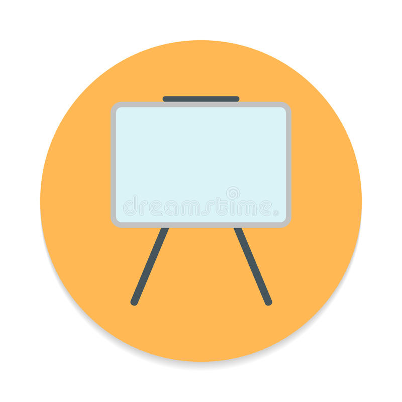Whiteboard flat icon. Round colorful button, Dry erase board circular vector sign. royalty free illustration