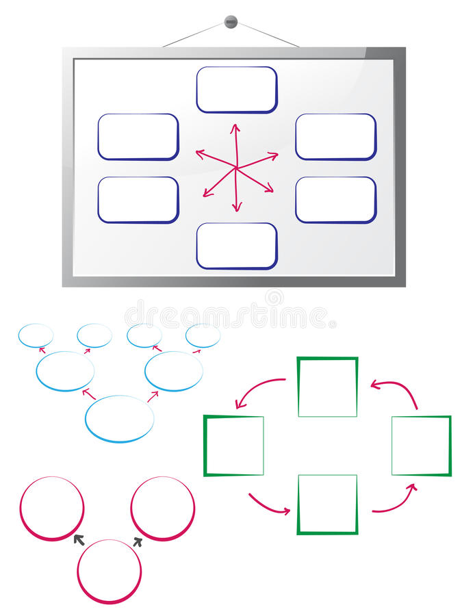 Whiteboard with flow charts. On white vector illustration