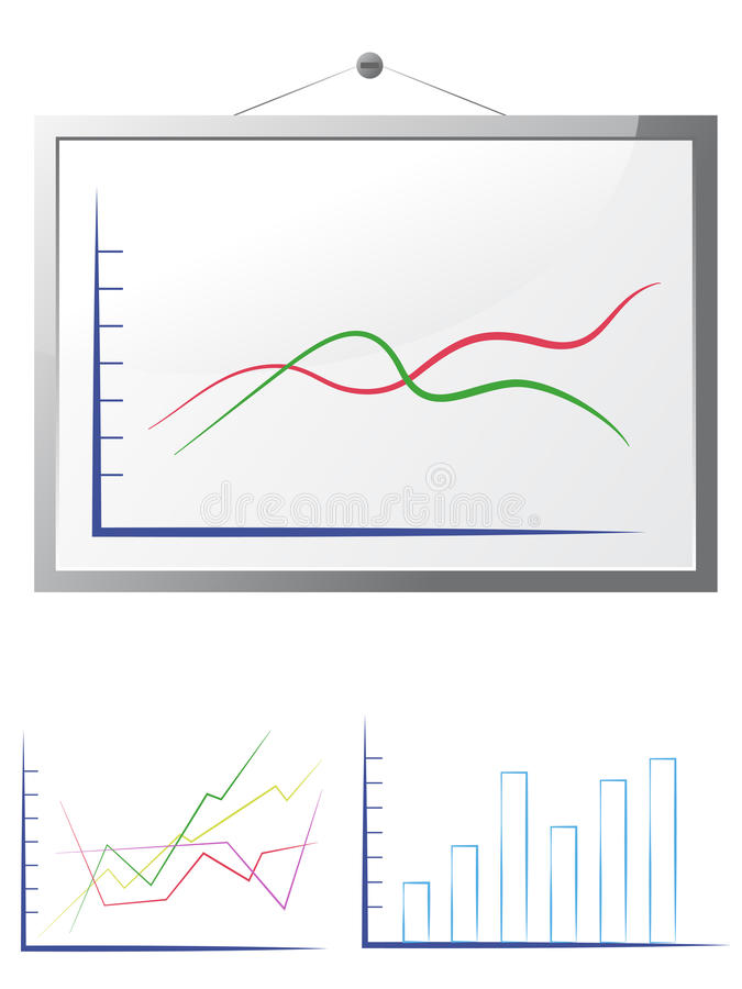 Whiteboard with graphs. On white royalty free illustration