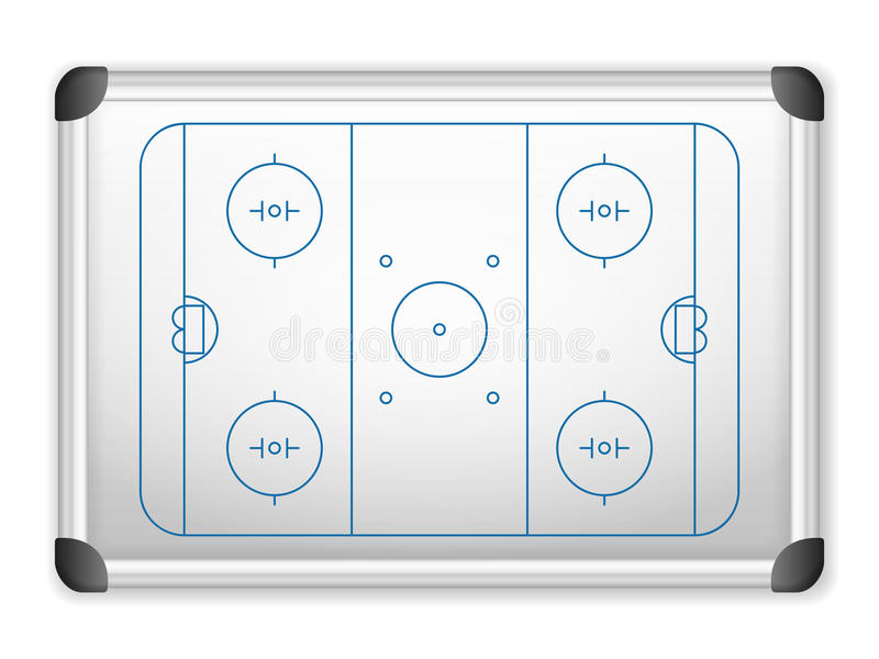 Whiteboard hockey. Sport field plan on whiteboard vector illustration