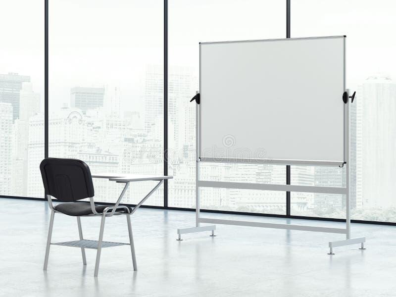 Whiteboard i krzesło w pustym pokoju Indywidualny sesi pojęcie świadczenia 3 d royalty ilustracja