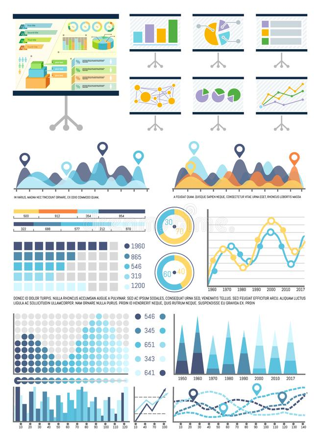 Whiteboard with Infocharts and Infographics Data. Vector. Graphic representation of information, business conceptualisation. Flowcharts and pie diagram stock illustration