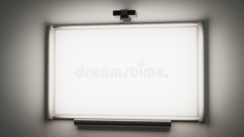whiteboard interativo com um illustrati do projetor 3d dos multimédios ilustração royalty free