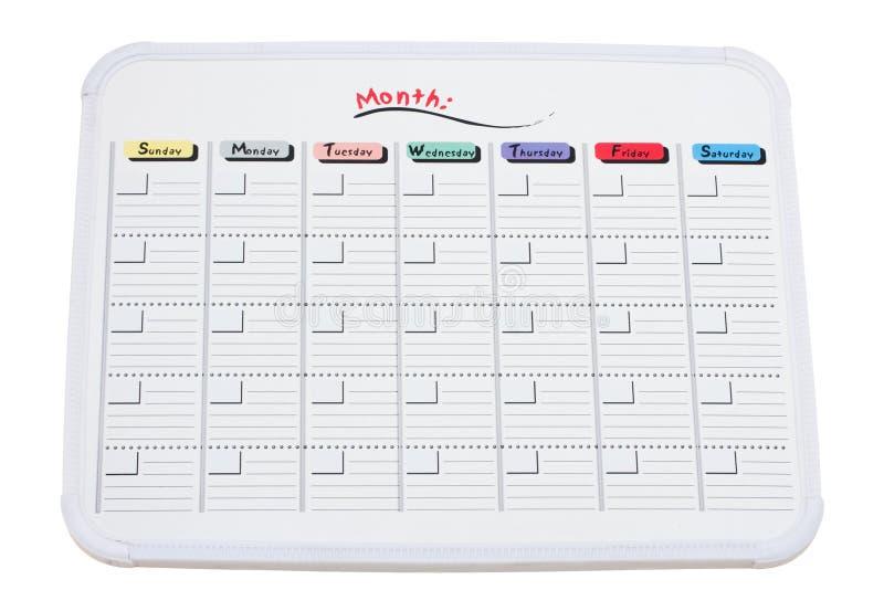 Whiteboard Kalender lizenzfreie stockfotografie