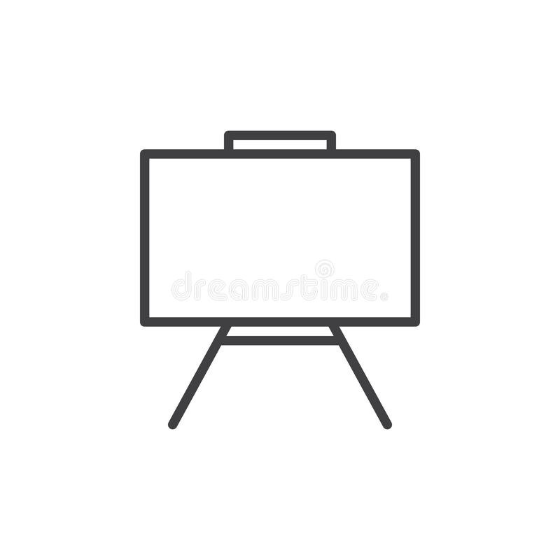 Whiteboard line icon, outline vector sign, linear style pictogram isolated on white. Dry erase board symbol, logo illustration. Editable stroke. Pixel perfect vector illustration