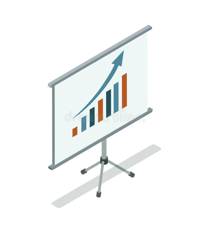 Whiteboard med den isometriska symbolen 3D för diagram stock illustrationer