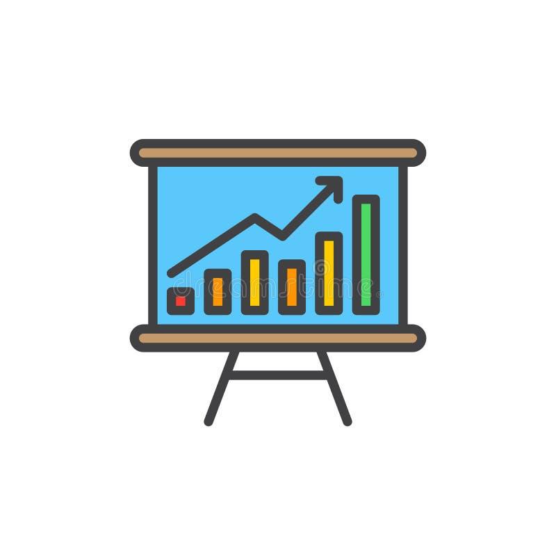 Whiteboard met het kweken van grafiek vulde overzichtspictogram stock illustratie