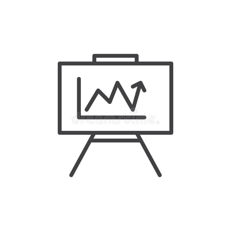 Whiteboard met het kweken van het pictogram van de grafieklijn, overzichts vectorteken, lineair die stijlpictogram op wit wordt g stock illustratie