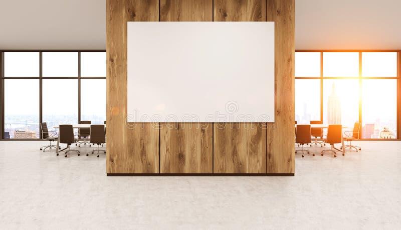 Whiteboard på träkontorsväggen stock illustrationer