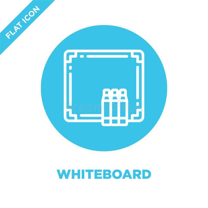 whiteboard pictogramvector van kantoorbehoefteninzameling De dunne lijn whiteboard schetst pictogram vectorillustratie Lineair sy vector illustratie