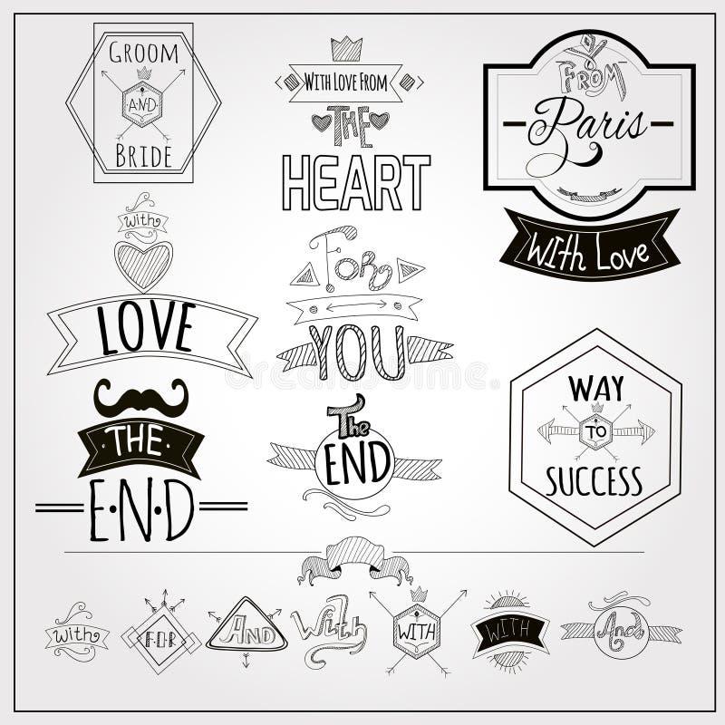 Whiteboard retro dos emblemas dos lemas da garatuja ilustração royalty free