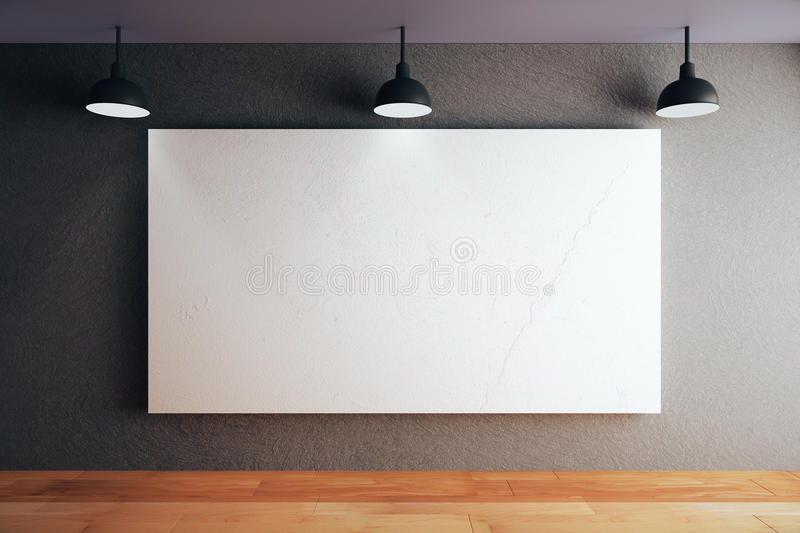 Whiteboard in room. Blank whiteboard on black concrete wall in room with wooden floor and ceiling with lamps. Mock up, 3D Rendering stock illustration